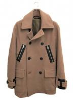HERMES(エルメス)の古着「レザー装飾Pコート」|ベージュ