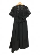()の古着「レース付き半袖ドレス」 ブラック