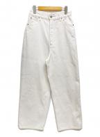 nagonstans(ナゴンスタンス)の古着「ハイウエストワイドパンツ ホワイトデニム」|ホワイト