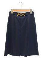 CELINE(セリーヌ)の古着「[OLD]サークルビットプリーツスカート」|ネイビー