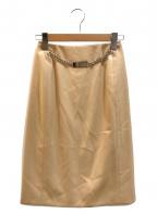 CELINE(セリーヌ)の古着「[OLD]チェーンロゴプレートタイトスカート」|ベージュ