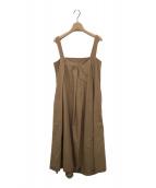()の古着「スクエアネックタックドレス」 キャメル