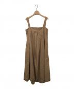 LE CIEL BLEU(ルシェルブルー)の古着「スクエアネックタックドレス」|キャメル
