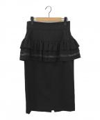 LIMI feu(リミフゥ)の古着「ヘプラムタイトスカート」|ブラック