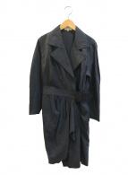 ()の古着「[OLD]ラップベルトシルクワンピースコート」 ブラック