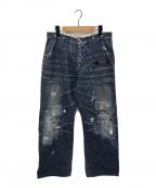 KAPITAL(キャピタル)の古着「刺し子リメイクベイカーデニムパンツ」|インディゴ