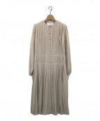 LE CIEL BLEU(ルシェルブルー)の古着「プリーツカラーレスワンピース」|ベージュ