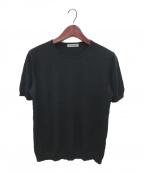 CASHYAGE(カシヤージュ)の古着「シルクカシミヤ半袖ニット」 ブラック