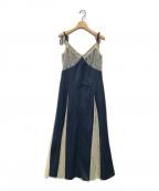 eimy istoire(エイミーイストワール)の古着「レーススイッチサテンキャミワンピース」|インディゴ