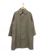 ORCIVAL(オーシバル)の古着「ウールプラッドステンカラーラグランコート」 ベージュ