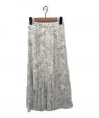 Snidel(スナイデル)の古着「ヘムフレアプリントスカート」|ホワイト