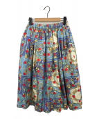 ()の古着「スカーフ柄シルクスカート」|ライトブルー