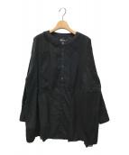 ()の古着「ソリッドクレイジーノーカラーシャツ」 ブラック