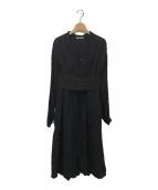 ()の古着「ベルト付きロングスリーブドレス」|ブラック