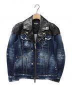 DSQUARED2(ディースクエアード)の古着「レザー切替デニムジャケット」|インディゴ