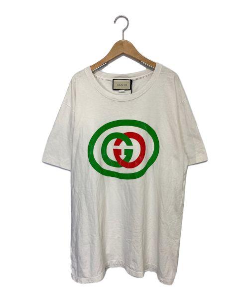 GUCCI(グッチ)GUCCI (グッチ) インターロッキングGプリントTシャツ ホワイト×グリーン サイズ:Lの古着・服飾アイテム