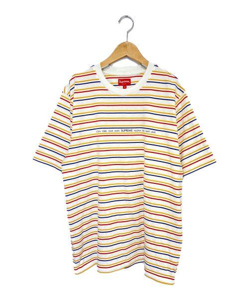 SUPREME(シュプリーム)SUPREME (シュプリーム) Stati Uniti Stripe S/S Top ホワイト×オレンジ サイズ:Mの古着・服飾アイテム