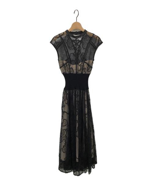 Snidel(スナイデル)Snidel (スナイデル) スィッチングレースドレス ブラックの古着・服飾アイテム