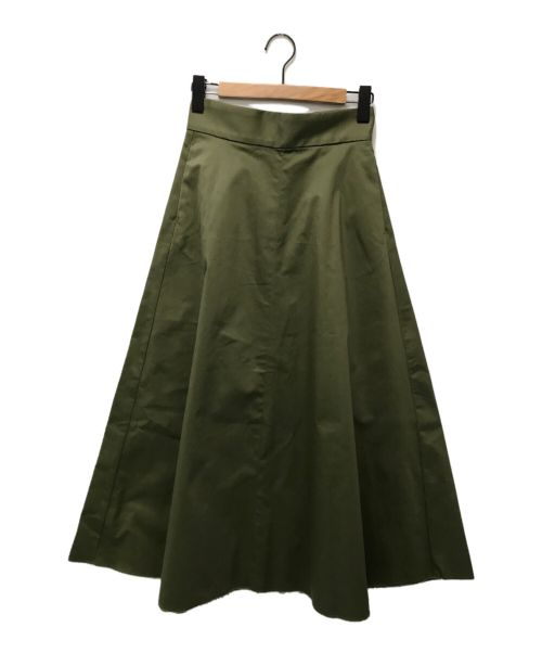 upper hights(アッパーハイツ)upper hights (アッパーハイツ) コットン混チノハイウエストAラインフレアマキシスカート カーキ サイズ:24の古着・服飾アイテム