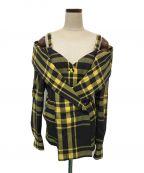 ISSEY MIYAKE()の古着「チェックシャツジャケット」|イエロー