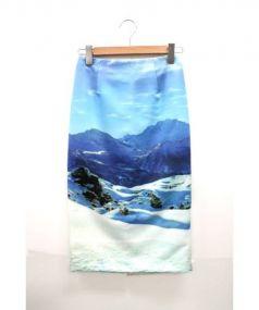 ENFOLD(エンフォルド)の古着「転写プリントスカート」|ブルー