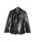 COMMEdesGARCONSHommePlus(コム デ ギャルソン オム プリュス)の古着「スカルプリント袖切替樹脂加工フェイクレザーテーラードジャケッ」 ブラック
