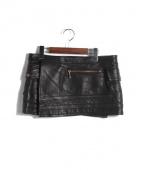 BLACK MEANS(ブラックミーンズ)の古着「レザーラップスカート」|ブラック