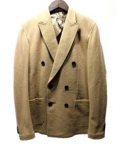 N4(エヌフォー)の古着「カシミア混ダブルブレストフランネルジャケット(Pコート)」|ベージュ(タグ記載:キャメル)