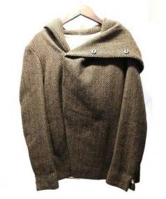 N4(エヌフォー)の古着「ツイードフーテッドラップコート(フーデッドウールジャケット)」|ブラウン
