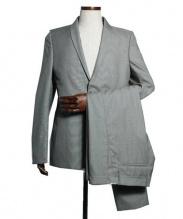 STEPHAN SCHNEIDER(ステファン シュナイダー)の古着「ナローラベルセットアップスーツ」|グレー