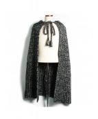 SAINT LAURENT PARIS(サンローランパリ)の古着「フーテッドニットポンチョ」|ブラック×ホワイト