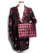 COMME des GARCONS(コムデギャルソン)の古着「総柄ロングホーリージャケット&ショートパンツ」|ピンク×ブラック