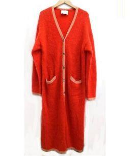 SARAH&BRED(サラ&ブレッド)の古着「キッドモヘアマキシカーディガン」|33CORALxL.PINK