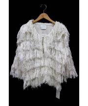 SARAH&BRED(サラ&ブレッド)の古着「COTTONLINENHAND-FRINGEDKNITJAC」|ホワイト