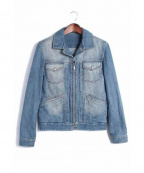 Yves Saint Laurent Rive Gauche(イヴ・サンローラン リヴ・ゴーシュ)の古着「ジップデニムジャケット」|ブルー