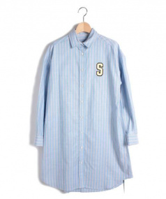 SARAH&BRED(サラアンドブレッド)の古着「ワッペンシャツワンピース」|ブルー