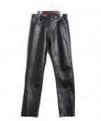 FREEDOM(フリーダム)の古着「バッファローレザーパンツ」|ブラック