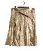 VIKTOR&ROLF(ヴィクターアンドロルフ)の古着「シルク混プリーツスカート」 ゴールド