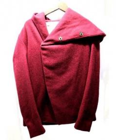 N4(エヌフォー)の古着「フーデッドラップコート(フーデットウールジャケット)」|エンジ