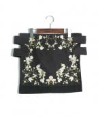 GIVENCHY(ジバンシィ)の古着「フラワープリントラップスカート」|ブラック