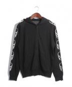 Lucien pellat-finet(ルシアンペラフィネ)の古着「カシミア混袖スカルジップニットパーカー」|ブラック