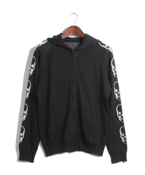Lucien pellat-finet(ルシアンペラフィネ)Lucien pellat-finet (ルシアンペラフィネ) カシミア混袖スカルジップニットパーカー ブラック サイズ:Sの古着・服飾アイテム