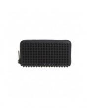 Christian Louboutin(クリスチャンルブタン)の古着「スタッズラウンドファスナー長財布」|ブラック