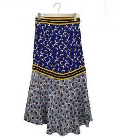 STELLAMcCARTNEY(ステラマッカートニー)の古着「総柄ロングスカート」|ブルー×グレー