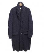 JULIEN DAVID(ジュリアンデイヴィット)の古着「wavy knitted dobby wool coat/ニ」 ネイビー