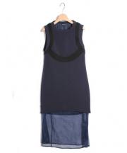 NEILBARRETT(ニールバレット)の古着「 ボンディングロングワンピース」|ネイビー