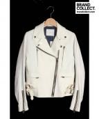 CINOH(チノ)の古着「コットンライダースジャケット」|ホワイト