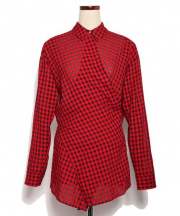 T by ALEXANDER WANG(ティーバイアレキサンダーワン)の古着「ラップチェックシャツ」|レッド