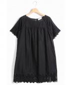 SARAH&BRED(サラアンドブレット)の古着「カットワーク刺しゅうコットンワンピース」|ブラック