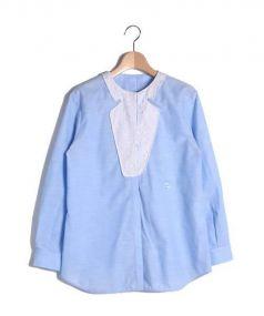 N21 numero ventuno(ヌメロ ヴェントゥーノ)の古着「ノーカラーブラウスシャツ」|スカイブルー